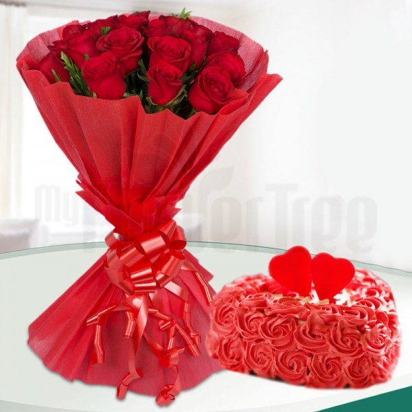 20 Red Roses with 1 Kg Heart Shape Vanilla Rose Cake