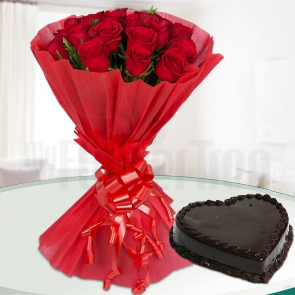 20 Red Roses with 1 Kg Heart Shape Chocolate Cake
