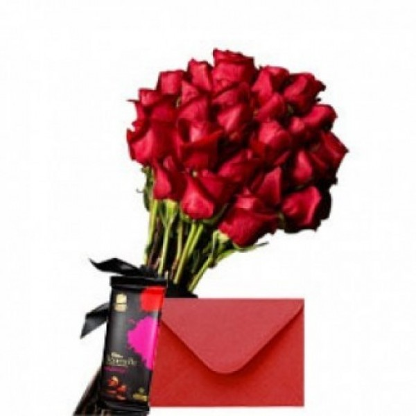 15 Classy Red Roses with 1 Bournville and a Greeting Card.
