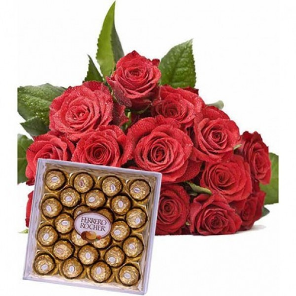 10 Red Roses Bunch and 24Pcs Ferrero Rocher