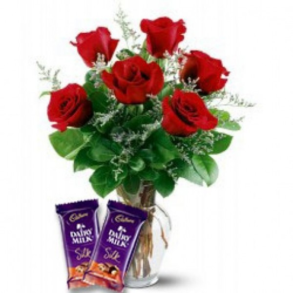 Send 6 Red Roses with 2 Dairy Milk Choclates.