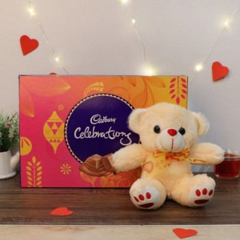 One Pack of Cadbury Celebration Pack 141 gm and Teddy Bear 6 inches