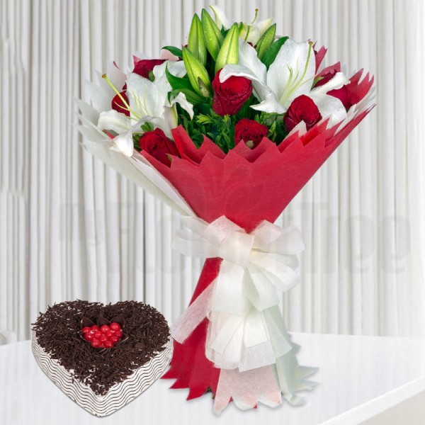 12 Red Roses and 3 White Asiatic Lilies with 1 Kg Heart Shape Black Forest Cake