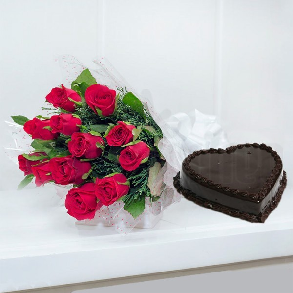 12 Red Roses with 1 Kg Heart Shape Chocolate Cake