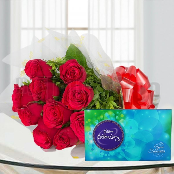 10 Red Roses in Cellophane Packing, Red Bow with Cadbury's Celebration (141gm)