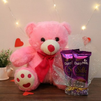 12 inches Pink Teddy Bear with 2 Dairy Milk Silk Chocolate