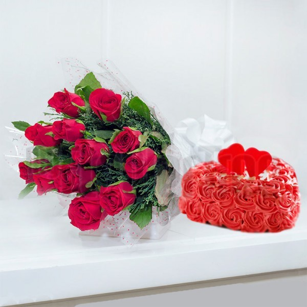 12 Red Roses with 1 Kg Heart Shape Rose Cake
