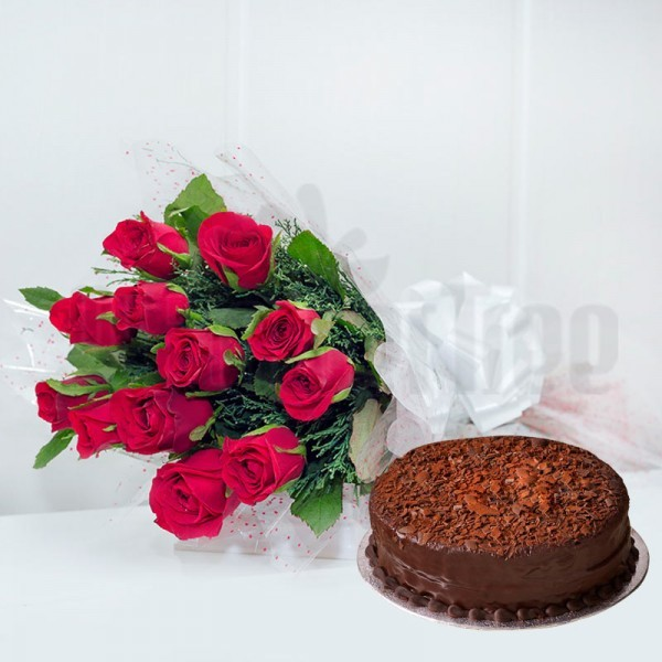 12 Red Roses in Cellophane Packing, Red Bow with Half Kg Chocolate Cake