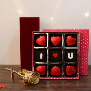 Box of 9 Pcs I love u Homemade Chocolate with 6 inches Gold Rose