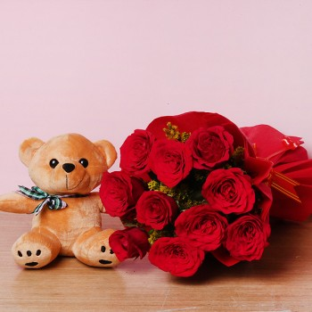 10 Red Roses in Paper Packing with Teddy Bear 6 inches