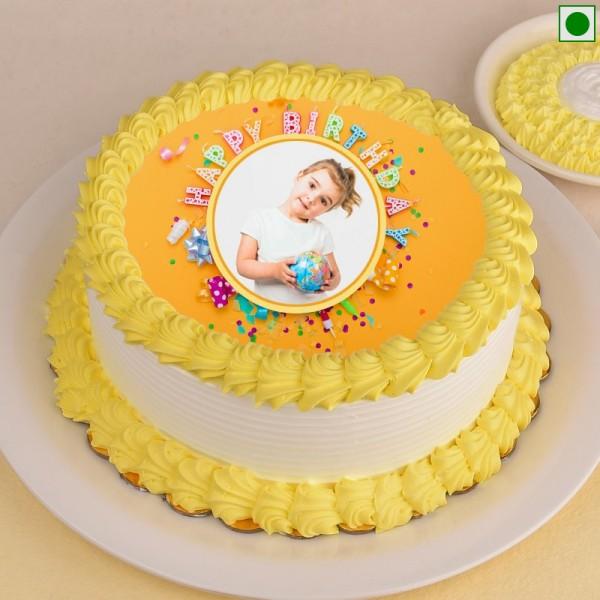 One Kg Eggless Photo Printed Pineapple Cake