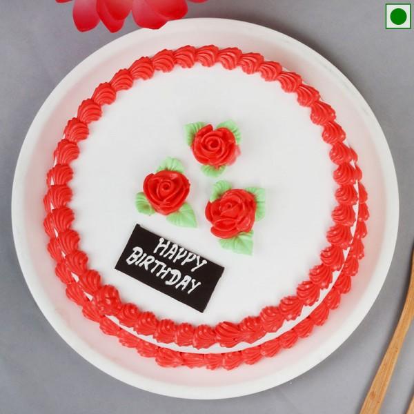 Half Kg Eggless Strawberry Birthday Cake