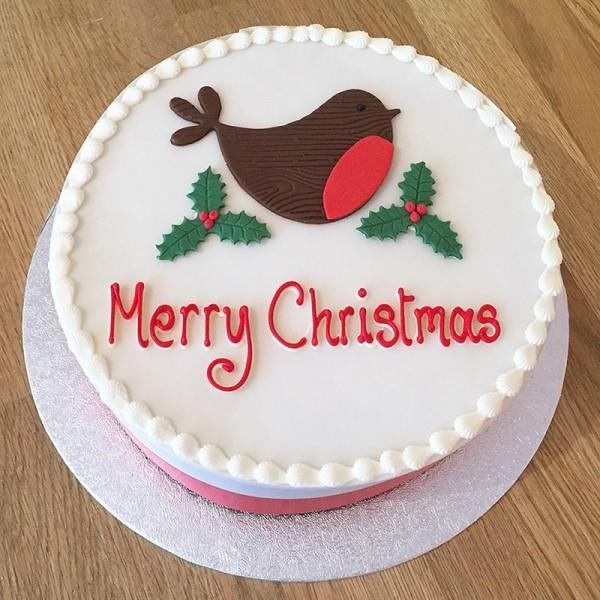 One Kg Merry Christmas Vanilla Fondant Cake