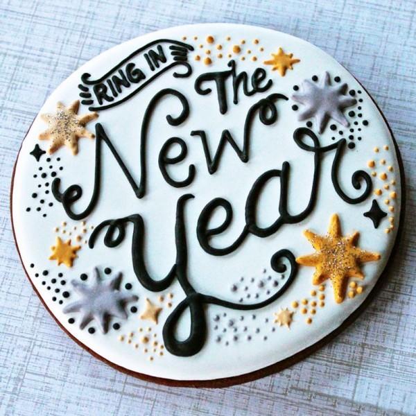 One Kg New Year Vanilla Fondant Cake