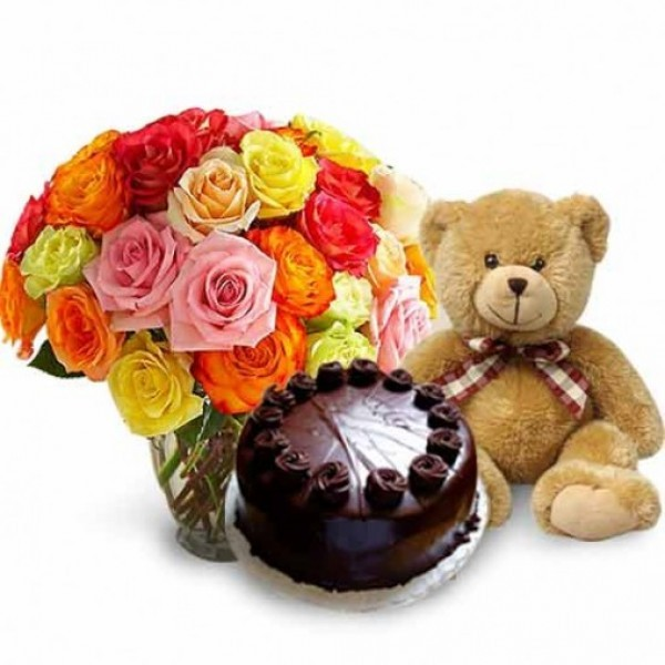 20 Mixed Roses in a Glass Vase with Half Kg Dark Chocolate Cake and Teddy (10 inch)