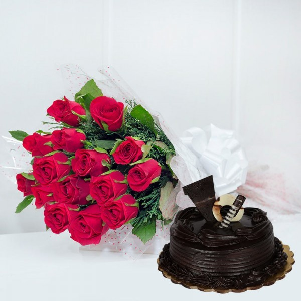 12 Red Roses in Cellophane Packing, Red Bow with Half Kg Truffle Cake