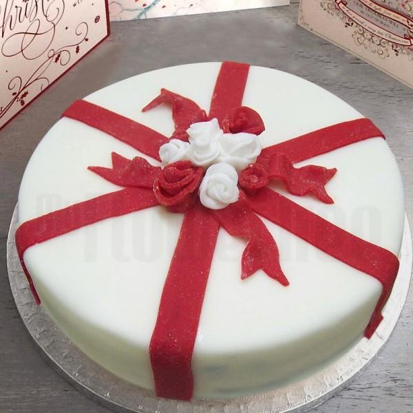 One Kg Designer Fondant Vanilla Christmas Cake