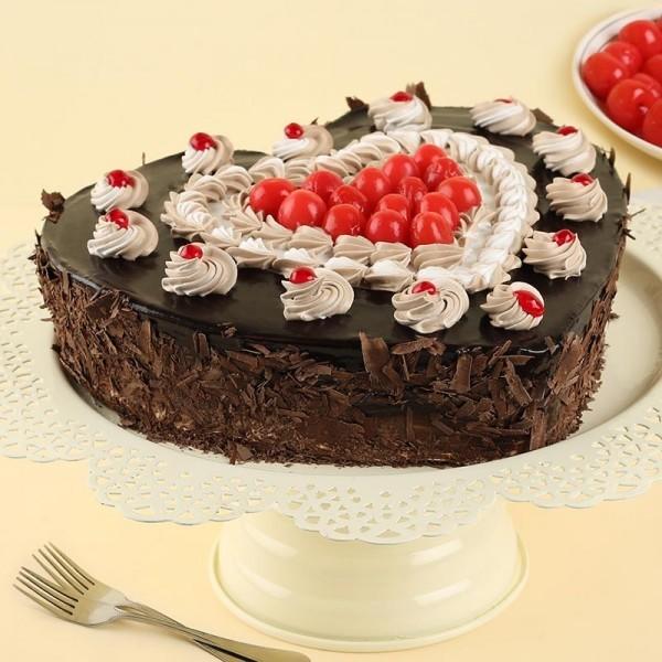 Heart Shape Designer Black Forest Cake