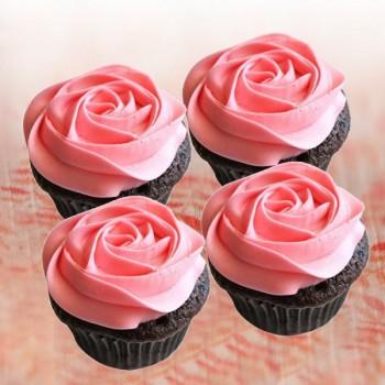 Pink Rose Strawberry Cupcakes 4 pcs
