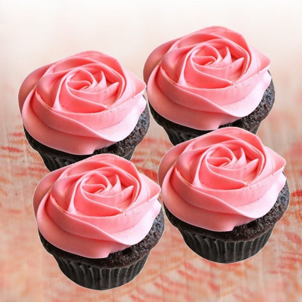 Pink Rose Strawberry Cupcakes 4 pcs