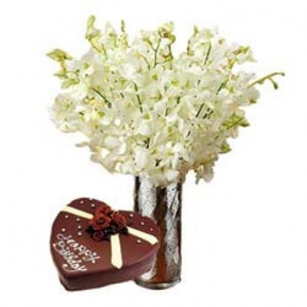 8 White Orchids with Heart Shape Chocolate Cake (1 kg) in a Vase