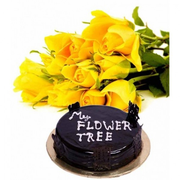 12 Yellow Roses wrapped in Cellophane with Half Kg Chocolate Truffle Cake