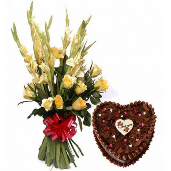 6 Yellow Glads and 5 Yellow Roses with Heart Shape Chocolate Cake (1 kg)