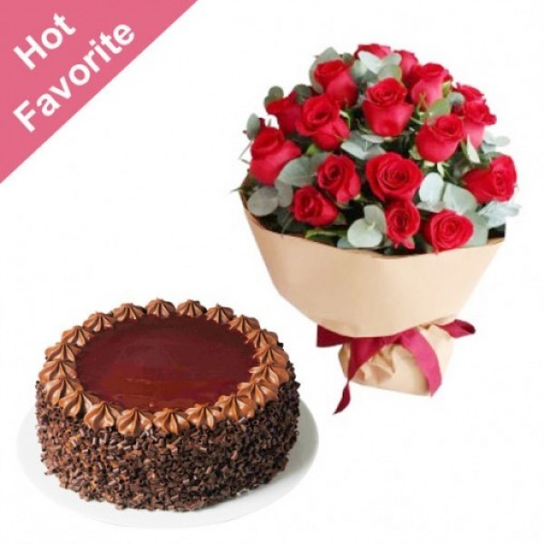 20 Red Roses with Chocolate Cake (Half kg)