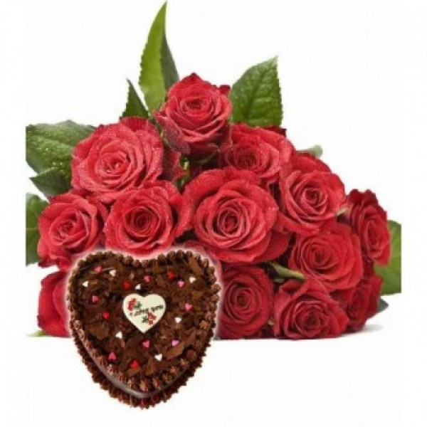 15 Red Roses with Heart Shape Chocolate Cake (1 kg)