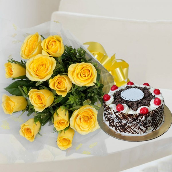12 Yellow Roses with Half Kg Black Forest Cake