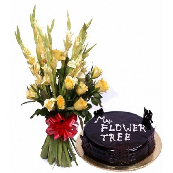 7 Yellow Glads and 5 Yellow Roses with Chocolate Truffle (Half Kg)