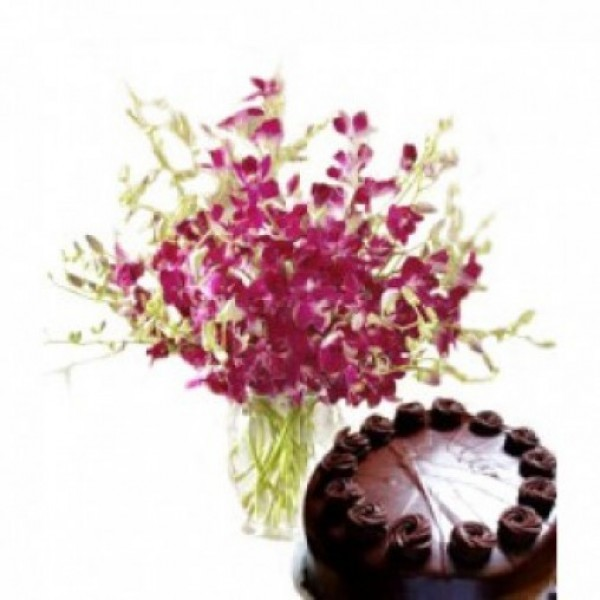 8 Orchid Stems with Dark Chocolate Cake (Half Kg) in a Glass Vase