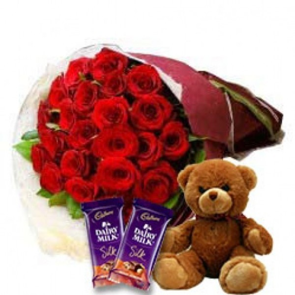 25 Red Roses with Teddy Bear (12inches) and 2 Cadbury's DairyMilk