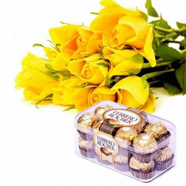 10 Yellow Roses with a box of 16 pcs of Ferrero Rocher Chocolates