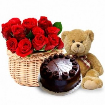 12 Red Roses in Basket with Teddy Bear (12 inch) and Half Kg Dark Chocolate Cake