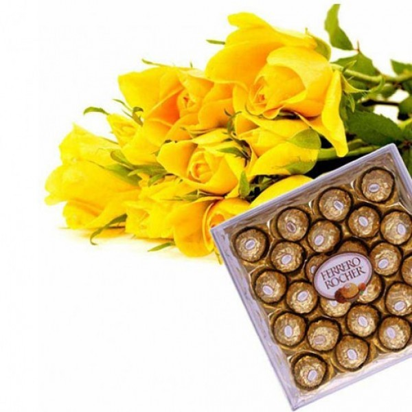 10 Yellow Roses with a box of 24 pcs of Ferrero Rocher Chocolates