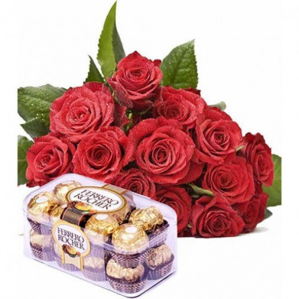 10 Red Roses with a box of 16 Pcs Ferrero Rocher Chocolates