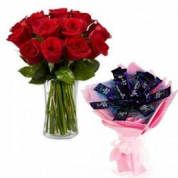 10 Red Roses with 12 Cadbury's DairyMilk Chocolates Bouquet in a Vase