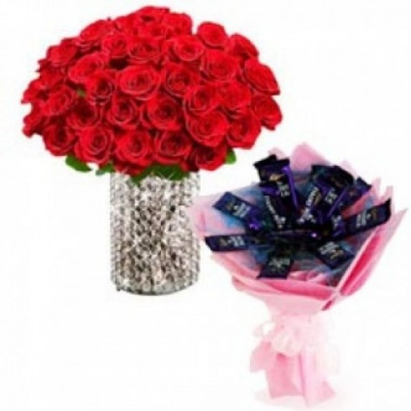 50 Red Roses in a Glass Vase with 12 Dairy Milk Bouquet