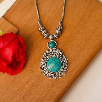 Aqua Green Beaded Designer Pendant