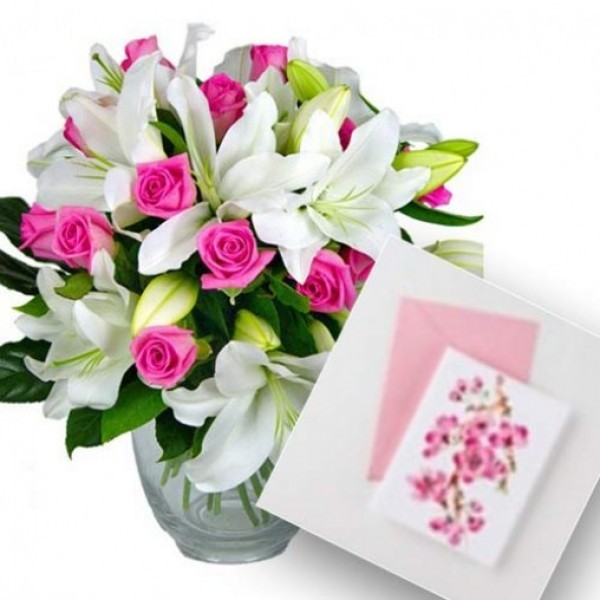 4 Asiatic White Lilies and 10 Pink Roses bouquet with Occasional Greeting Card