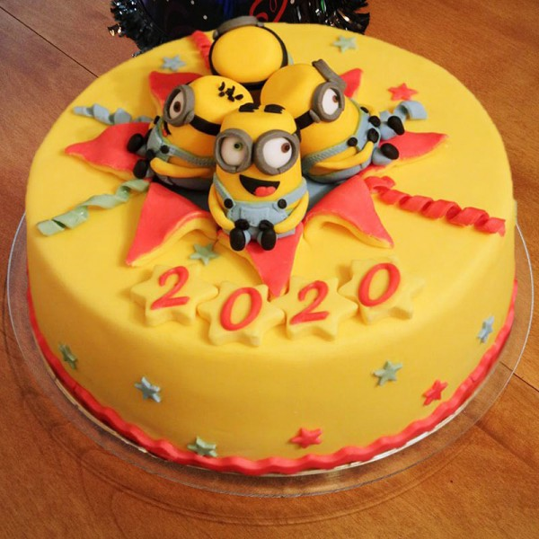 One Kg Minion Theme Vanilla Fondant Cake for New Year