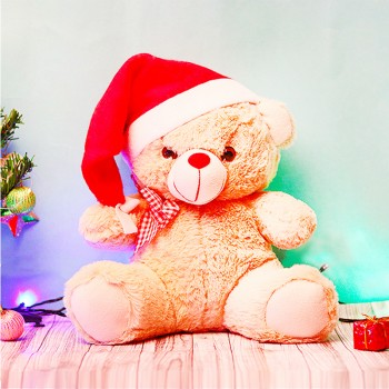 One 10 inches Brown Color Teddy Bear with a Santa Cap