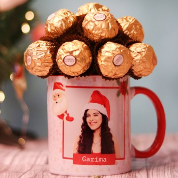 One Personalised red Handle Mug and Ferrero Rocher Chocolate Arrangement for Christmas