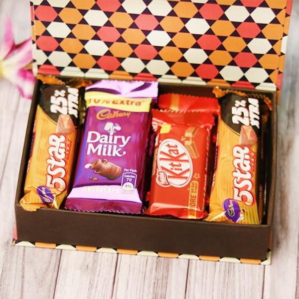 One Chocolate Box of 4 Five Star 4 Dairy Milk Chocolate and 3 kitkat