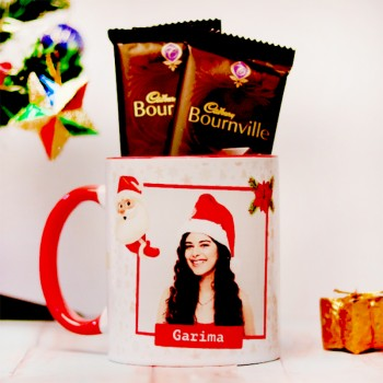 One Red Handle Personalised Christmas Theme Mug with 2 Bournville Chocolate