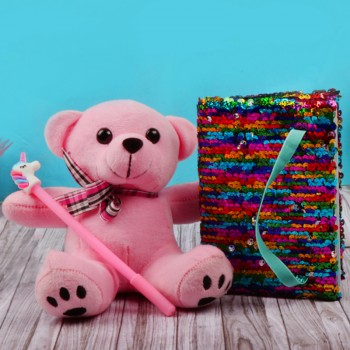 One Pink Teddy Bear 6 inches with One Small Notepad and a designer pen