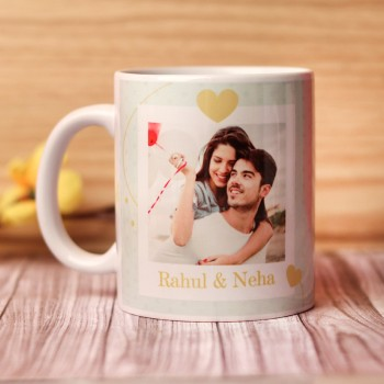 One Personalised Ceramic White Handle Mug