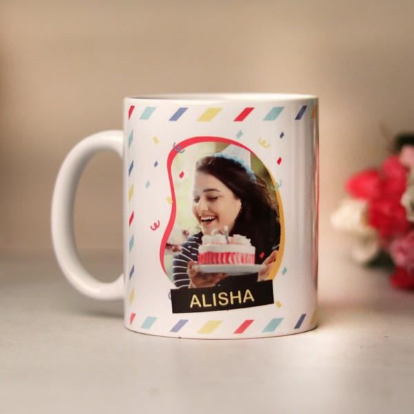 One Personalised Photo Printed White Mug for Birthday