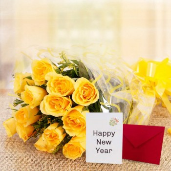 10 Yellow Roses with New Year Greeting Card
